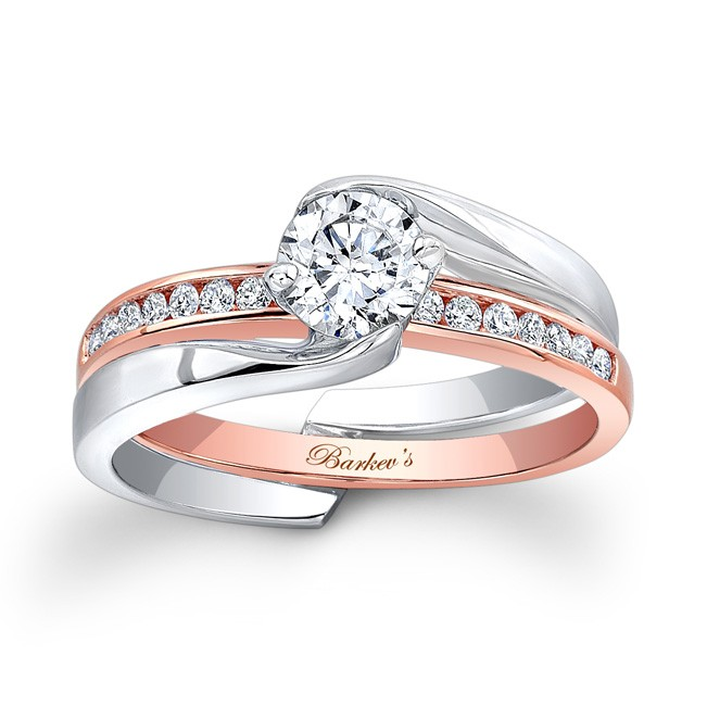 white rose gold bridal set - Rose Gold Wedding Ring Set