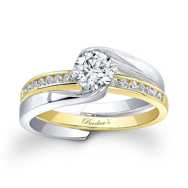Wedding White And Yellow: Barkev's White & Yellow Gold Bridal Set 7916STY