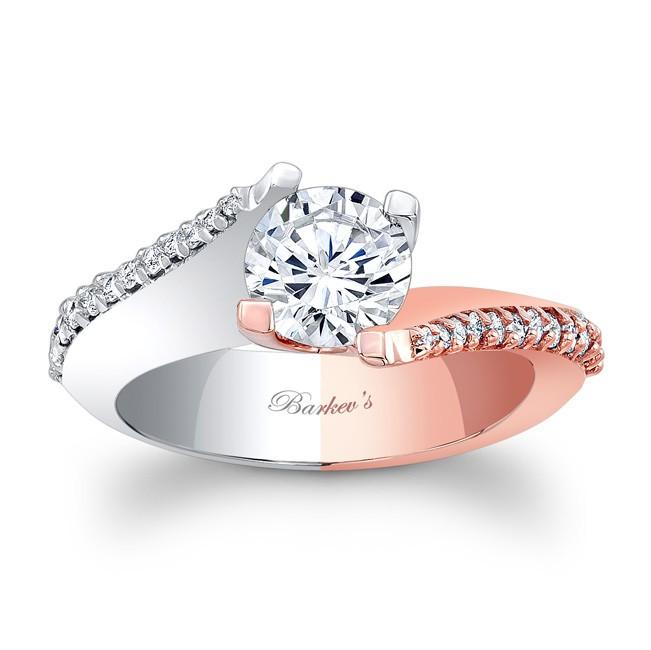 Barkevs White Rose Gold Engagement Ring 7928LT