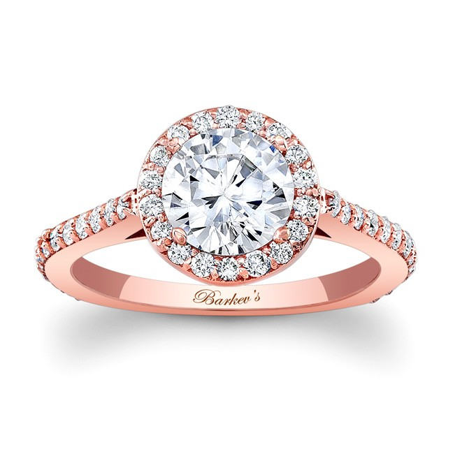 Barkevs Rose Gold Halo Engagement Ring 7933LP