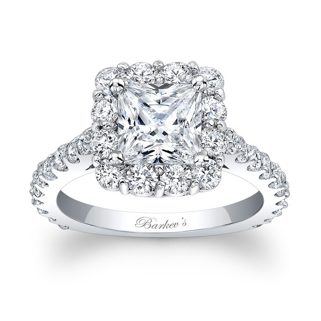 Barkev s Princess Cut Halo Engagement Ring 7939L