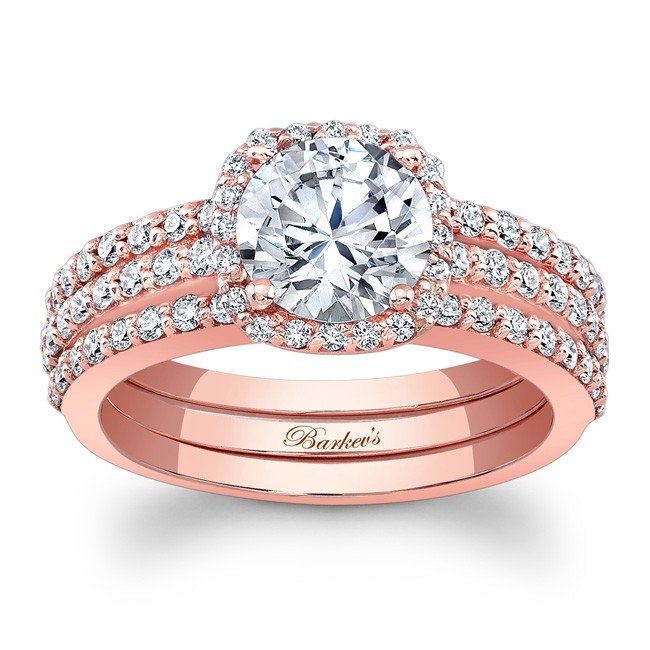 rose gold bridal set - Rose Gold Wedding Ring Set