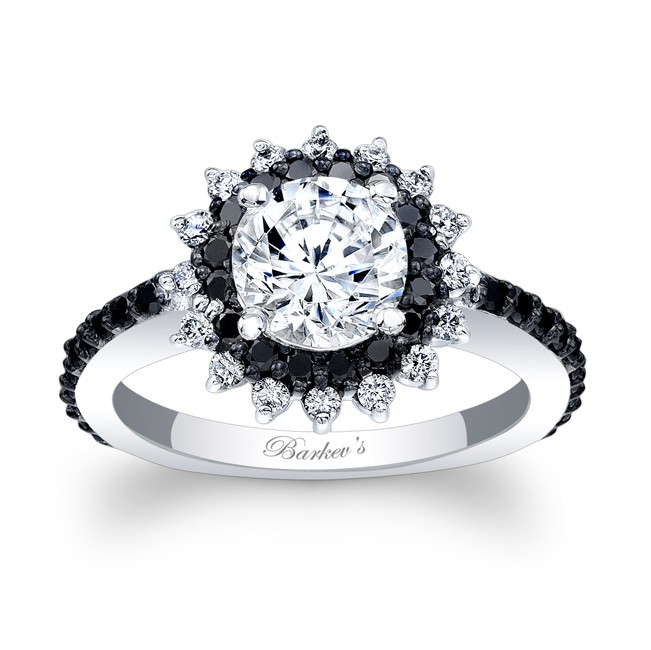 Barkev s Black Diamond Halo Engagement Ring 7969LBK