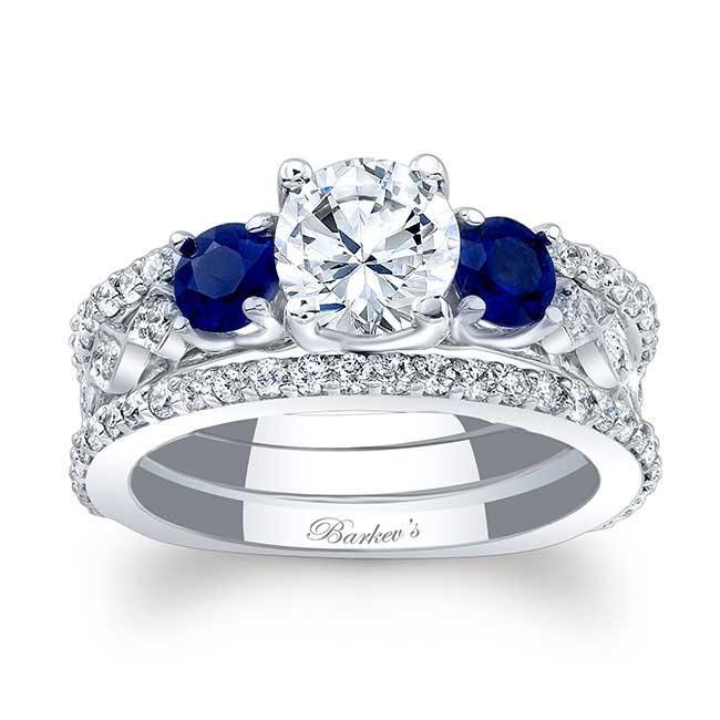 blue sapphire bridal set - Blue Sapphire Wedding Ring Sets