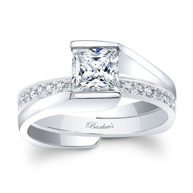 Barkevs White Gold Princess Cut Bridal Set 8070S
