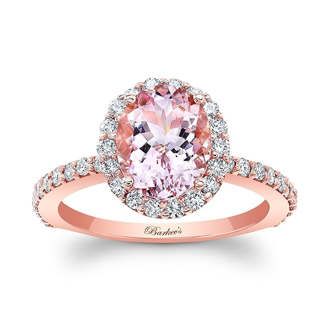 2.00ct. Oval Morganite Rose Gold Engagement Ring MOC-8027LP