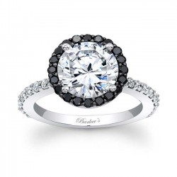 Black Diamond Halo Engagement Ring - 7839LBK