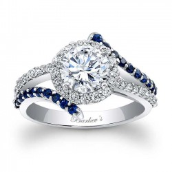 Engagement Ring With Blue Sapphires - 7857LBS