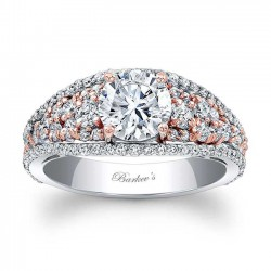 White And Rose Gold Engagement Ring - 7892LT