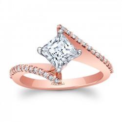 Rose Gold Bypass Princess Cut Engagement Ring 8074LP