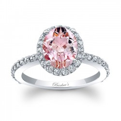 2.00ct. Oval Morganite Halo Engagement Ring MOC-8027L front