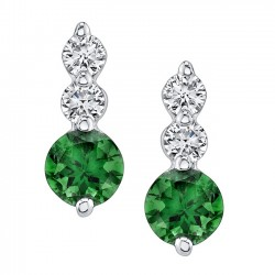 White Gold Green Tourmaline Earrings - 5593E