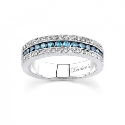 White Gold Band With White & Blue Diamonds - 6502LBD