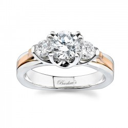Rose gold three stone ring - 6713LT