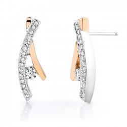 Two tone white & rose gold diamond earrings - 6728E