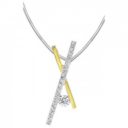 White & yellow gold diamond pendant - 6746N