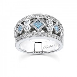 White Gold Band With White & Blue Diamonds - 6779LBD