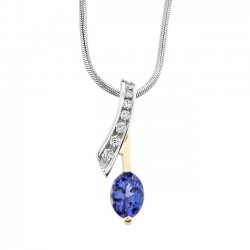 Two tone diamond & tanzanite pendant - 6872N