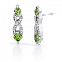 White Gold Peridot Earrings - 6975E