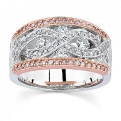 White & Rose Gold Diamond Band - 7016L