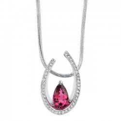 White gold diamond & rubellite pendant - 7027N