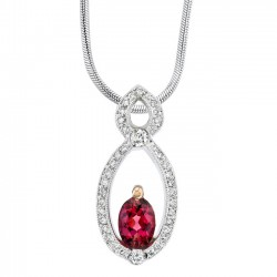 Two tone diamond & rubellite pendant - 7033N