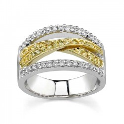 Two Tone Band With White & Yellow Diamonds - 7242L