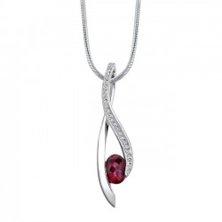 White gold diamond & rubellite pendant - 7360N