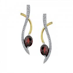 Two tone white & yellow gold red garnet diamond earrings - 7368E