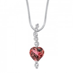 White gold diamond & rubellite pendant - 7435N