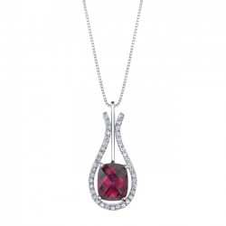 White gold diamond & rubellite pendant - 7743N