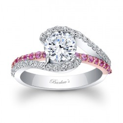 White & Rose Gold Engagement Ring - 7848LTT