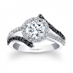 Black Diamond Halo Engagement Ring - 7857LBK