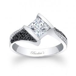 Black and White Diamond Engagement Ring - 7872LBK