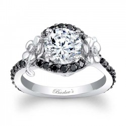 Flower Engagement Ring With Black Diamonds 7936LBK
