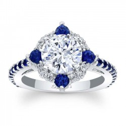 Blue Sapphire Halo Engagement Ring 7967LBS