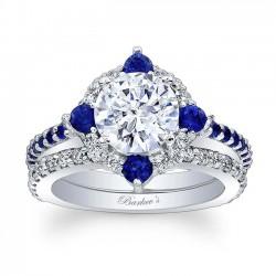 Blue Sapphire Halo Bridal Set 7967SBS