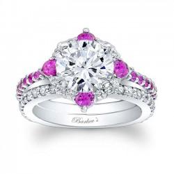 Pink Sapphire Halo Bridal Set 7967SPS
