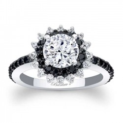 Black Diamond Halo Engagement Ring 7969LBK