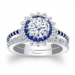 Blue Sapphire Halo Bridal Set 7969SBS