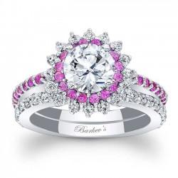 Pink Sapphire Halo Bridal Set 7969SPS