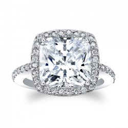 White Gold Halo Engagement Ring With Cushion Cut Diamond 8045L