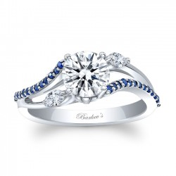 Marquise & Blue Sapphire Engagement Ring 8060LBS