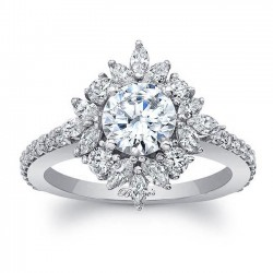 White Gold Engagement Ring 8065L