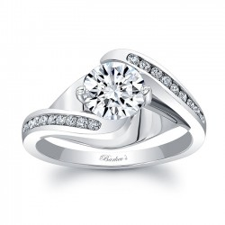 White Gold Engagement Ring With Channel Set Melee Diamonds 8069L