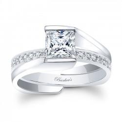 White Gold Princess Cut Bridal Set 8070S