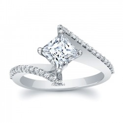 White Gold Bypass Princess Cut Engagement Ring 8074L