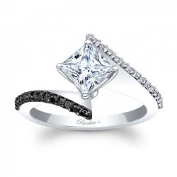 Bypass Princess Cut Black Diamond Engagement Ring 8074LBK