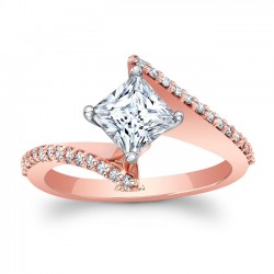 Rose Gold Bypass Princess Cut Engagement Ring 8074LP
