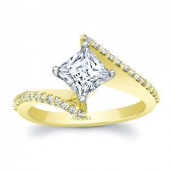 Yellow Gold Bypass Princess Cut Engagement Ring 8074LY